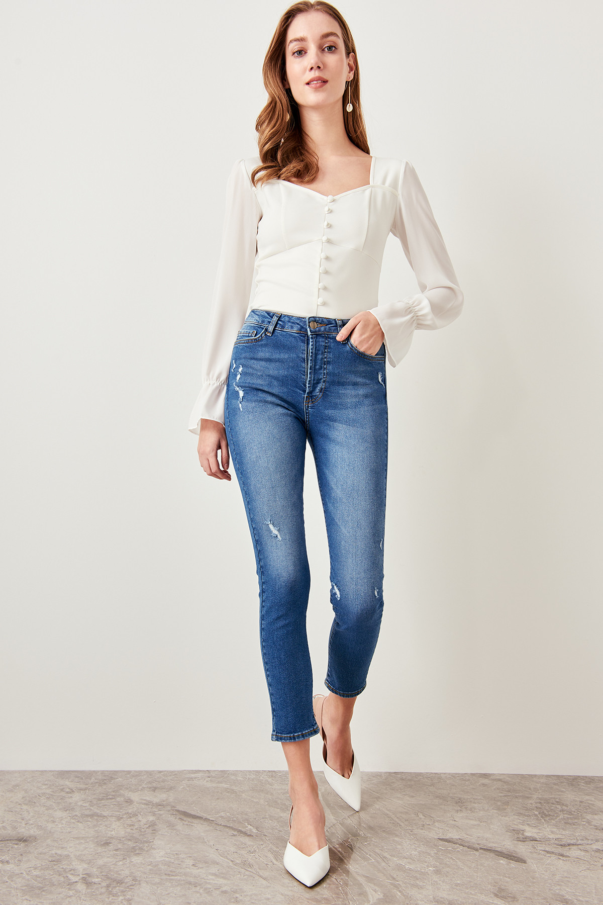 Trendyol Blue High Waist Skinny Jeans corroding should TWOSS19UM0031-in Jeans from Women's Clothing