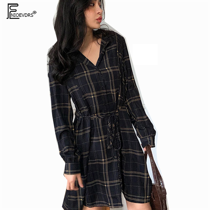 2019 Spring Design Dresses Hot Sales Women Fashion Long Sleeve Korean Cute Preppy Style Girls Vintage Button Shirt Dress 1287 Платье