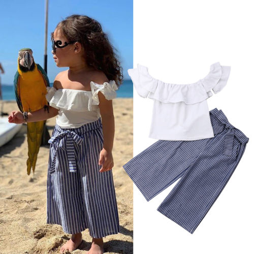 Toddler Kids Baby Girls Off Shoulder Ruffle Top Pants Summer Outfit Set Clothes