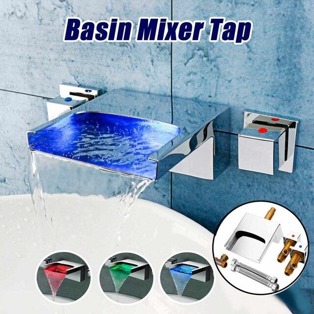 Xueqin LED 3 Farbwechsel Wasserfall Dual Griffe Bad Becken Wasserhahn  Mischer Heiße Und Kalte Dusche Wand montiert