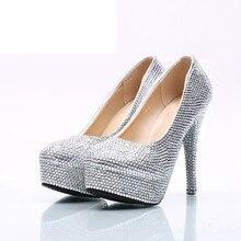 Plata Rhinestone boda zapatos Nightclub partido talón Cinderella Prom  bombas hechas a mano de alta calidad 428af8e8aacb