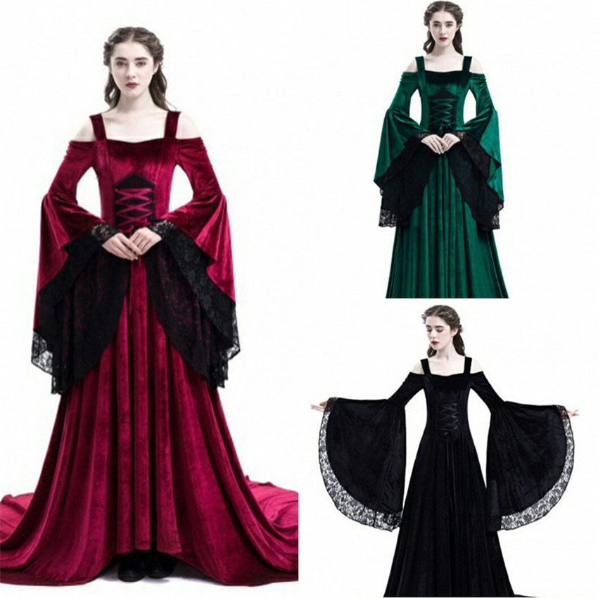Medieval Dress Halloween Costumes for Women Strapless Lace Shoulder European Palace Court Retro Noble Cosplay Princess Dress