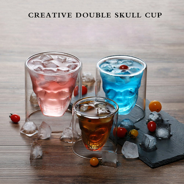 Skull Head Wine Glass Mug Crystal Beer Whiskey Shot Double Glass