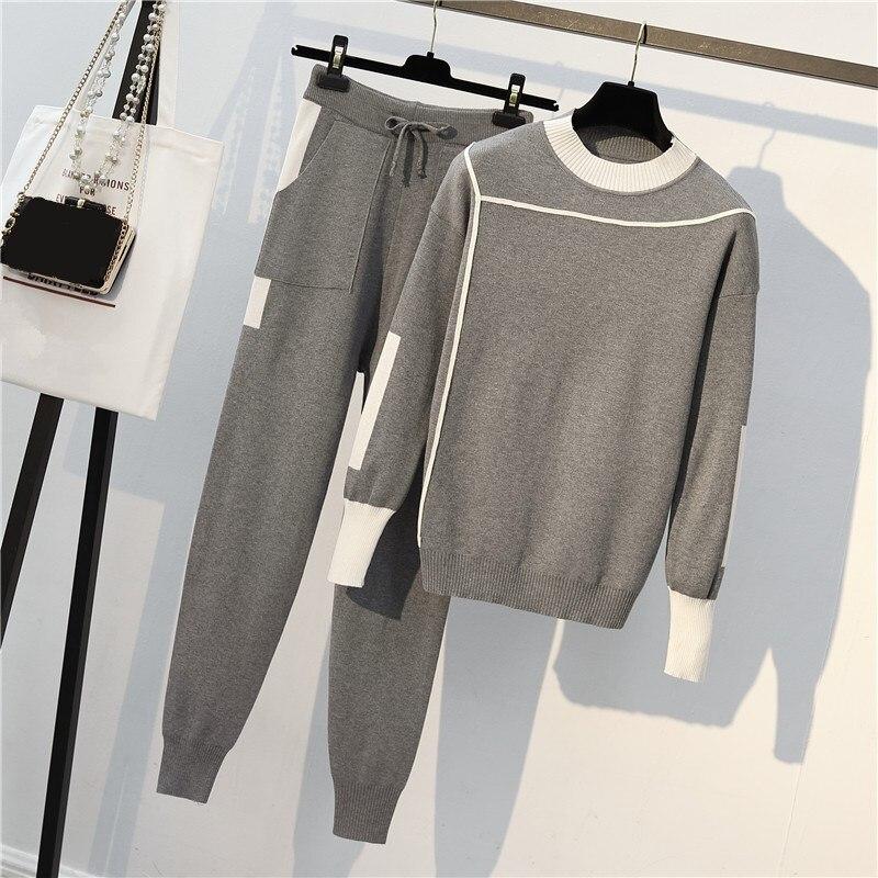 Pièces 3 cou Hiver Femmes noir Automne Pantalons Chandail Couleurs 2 Bourgogne Pantalon Tricot gris Poche O Ensembles Et En Pulls 8pvvnwqO