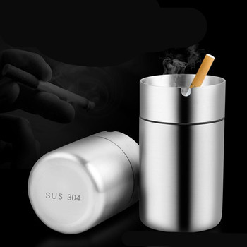 Stainless Steel Car Ashtray Smokeless Auto Cigarette Ashtray Ash Holder 4477 extrusion switch stainless steel ashtray silver