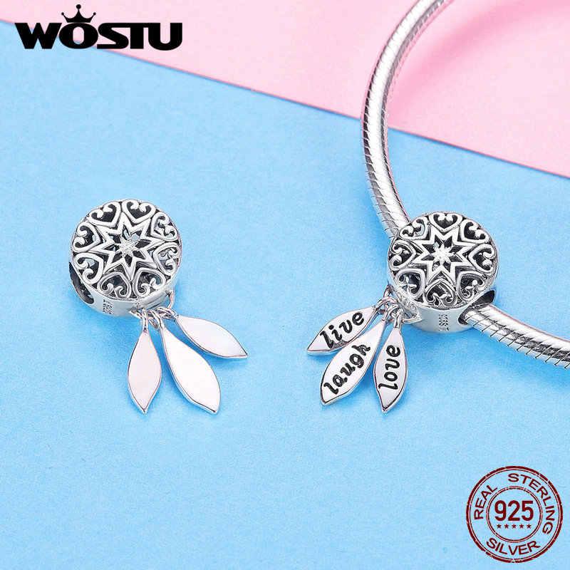 WOSTU 925 Sterling Silber Live Lachen Liebe Charms CZ Bead Fit Original Armband Armreif Anhänger Charme Für Schmuck Machen CQC1128