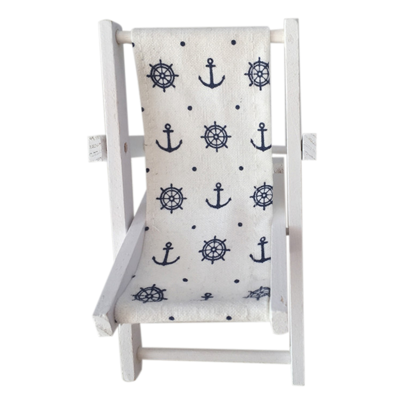 Mini Beach Chair Pattern Fold Wooden Chair Craft Decor Party Gift Furniture Dollhouse Accessories