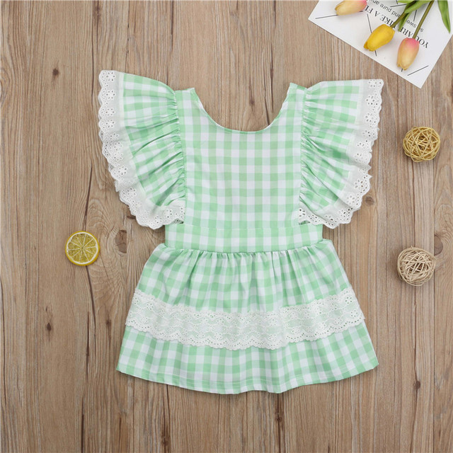 9020103bf5b1 2-7T Toddler Kids Baby Girls Checks Plaid Backless Mini Dress Clothing  Summer Party Pageant