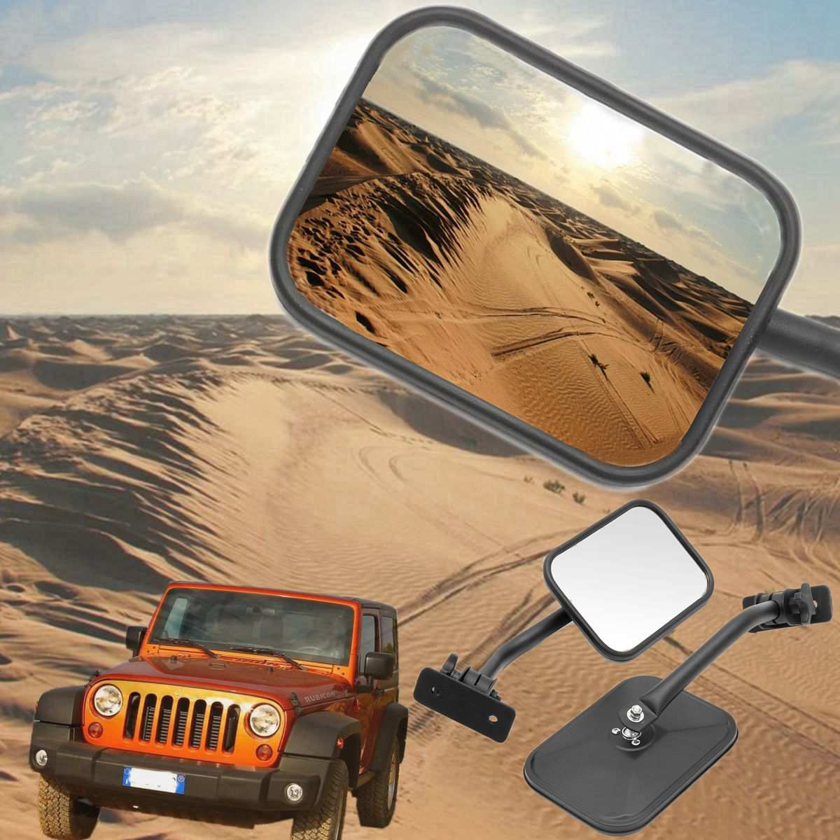 Car Rearview Mirror Rear View Side Mirrors Glass Adjustable Quick Release Black For Wrangler TJ JK