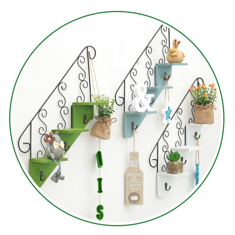 Us 13 24 45 Off Iron Art Wooden Stair Shaped Shelves Wall Mounted Plant Display Rack Decorative Wall Art Organizer Light Blue In Storage Holders