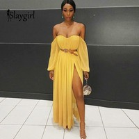 Slaygirl Summer Autumn Long Maxi Dresses Women Off Shoulder Long Sleeve Sexy Dresses Club Strapless Chiffon Party Vestidos