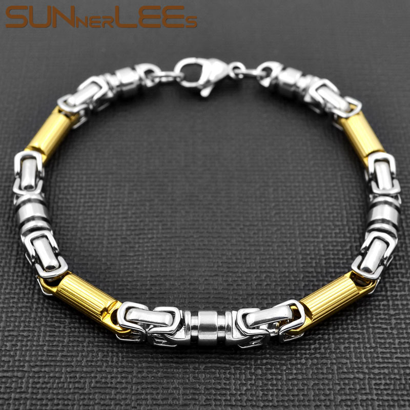 SUNNERLEES Fashion Jewelry Stainless Steel Bracelet 6mm Link Chain Silver Color Gold Plated Men Women SC93 B