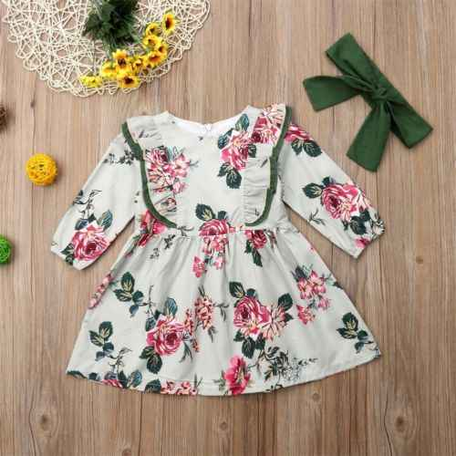 2019 Cute Baby Girl Floral Dress Toddler Baby Girls Dress Princess Party Pageant Long Sleeve Dresses Kids Girl Infant Clothes