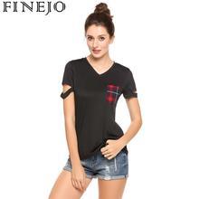 цена на Women Casual Short Sleeve Front Pocket V Neck Plaid Slim Pullover Cut Out T-Shirt