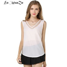 Women Tank Top Summer V Neck Chiffon Vest Top Sleeveless Casual Tank Blouses Tops Sheer Mesh Patchwork T Shirt Bottom Camisole(China)