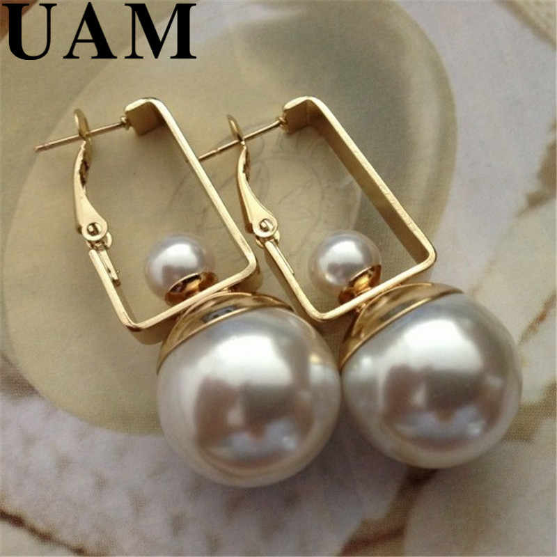 4.4*1.8cm 2017 New Summer Textured Jewelry Fashion Gold Geometric Shape Shiny Big Double Pearls Dangle Earrings for Women