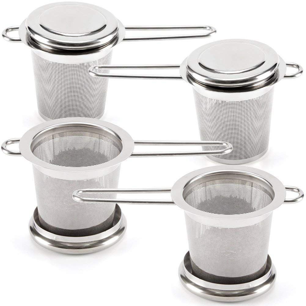 Tea Infusers For Loose Leaf Tea [Set Of 4] Stainless Steel Fine Mesh Tea Strainer With Handle And Lid, Reusable Tea Steeper Fo