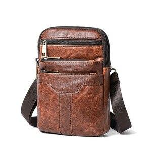 Image 1 - Retro Erkek askılı çanta Hakiki Deri Küçük klasik postacı çantaları Erkekler Için Deri Çanta Erkek omuzdan askili çanta Lüks Tasarımcı