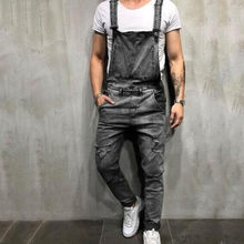 Meihuida Drop Shipping Casual Comfort Overalls Men's Denim Carpenter Male Moto Biker