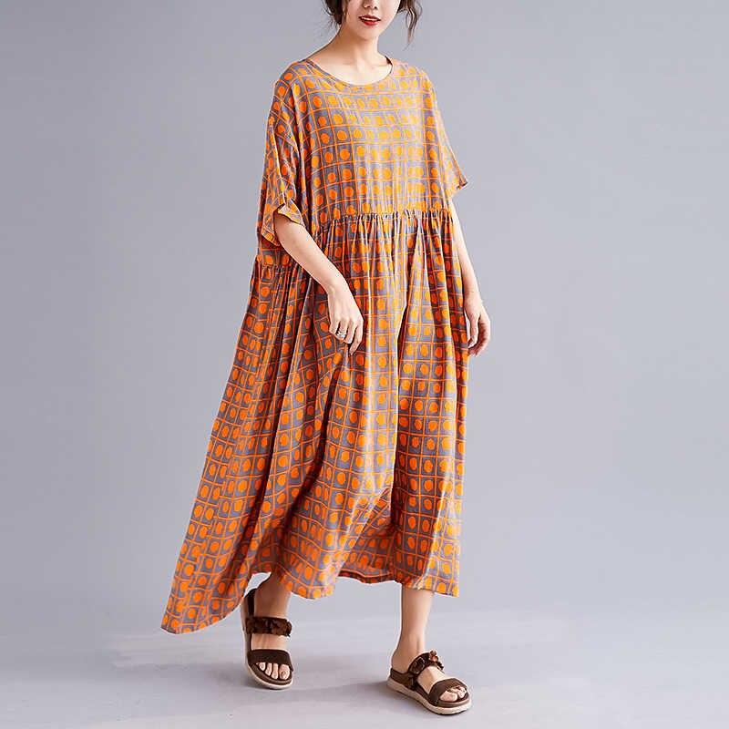 Nkandby 2019 Новое весеннее винтажное свободное женское длинное платье больших размеров клетчатое хлопковое и льняное очень большие женские платья Ампир