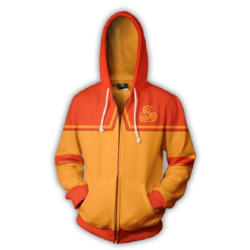 2019 autumn new men and women <font><b>Avatar</b></font> <font><b>Aang</b></font> 3D printing hoodie casual zipper personality hoodie US large size hip hop top image