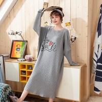 New Hot Ladies Round Neck Long Sleeve Night Dress Spring Autumn Female Casual Loose Sleepwear
