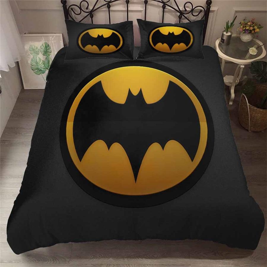 HELENGILI 3D ensemble de literie Batman imprimer housse de couette ensemble de literie avec taie d'oreiller ensemble de lit Textiles de maison # TB-12