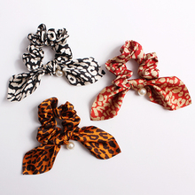 Sale 1pc Chiffon Floral Printed Bowknot Silk Hair Scrunchies Women Pearls Ponytail Holder Tie Rope Accessories