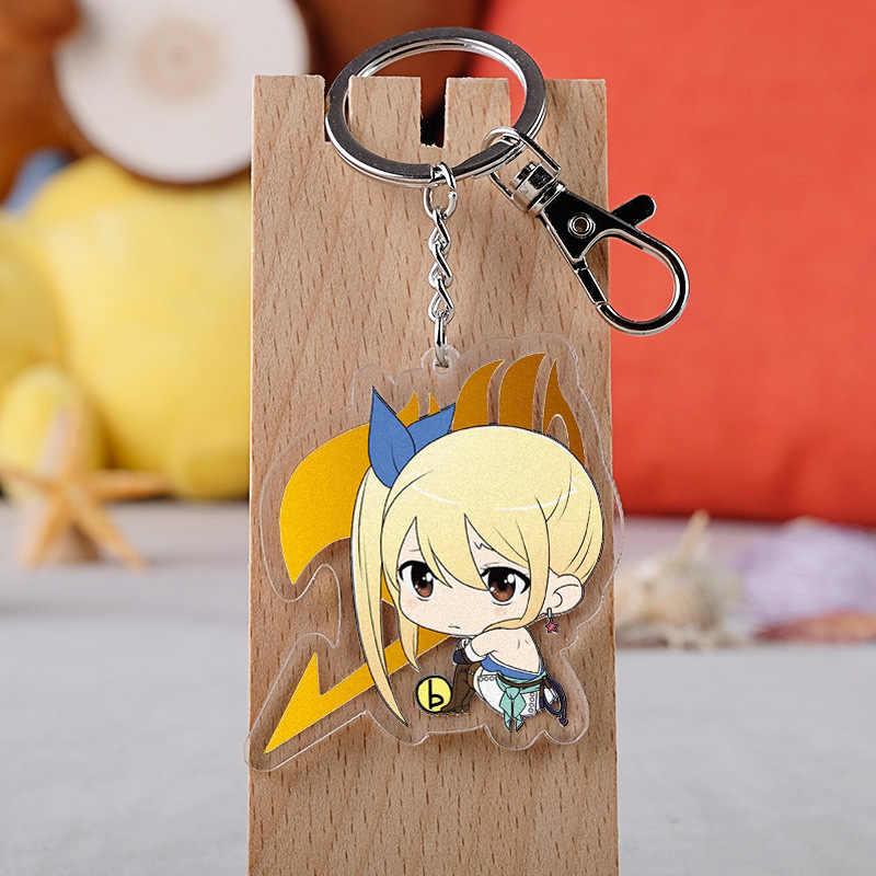 Anime Fairy Tail Sleutelhanger Mode Acryl Natsu Lucy Heartfilia Erza Scarlet Auto Sleutelhouder Ketting Hanger Sleutelhangers Sieraden