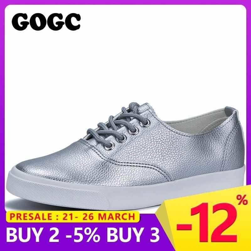d6590ee3 GOGC 2019 Шнурки кожаная обувь серебристая женская обувь на плоской подошве дышащие  кроссовки женские летняя женская