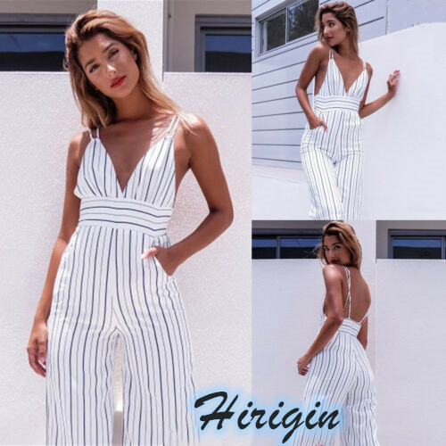 Summer Women Clothes 2019 New Womens Holiday Backless Jumpsuits Sexy Ladies Loose V-neck Striped