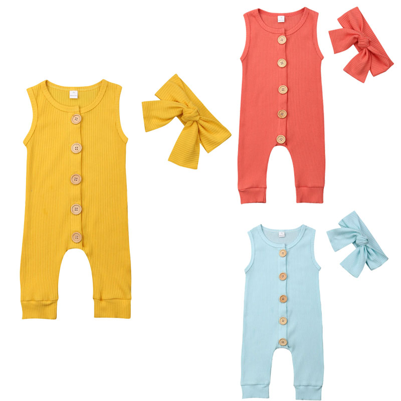2019 Summer Newborn Baby Boy Girl Sleeveless Solid Color Cotton   Romper   Jumpsuit Headband 2PCS Outfits Baby Clothes 0-18M