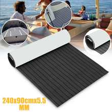 Self-Adhesive 900x2400cmx5.5mm Dark Grey with Black EVA Foam Teak Boat Flooring Sheet Yacht Synthetic Teak Decking Pad Accessori(China)