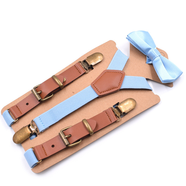New Children's 3 Clip Fashion Y-shaped Strap Clip Casual Suspenders With 2.0 Leather Bow Tie Suit Fashion Personality
