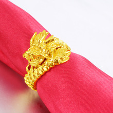Vietnam Alluvial Gold Dragon Ring For Men High Quality No Fade Brass Plated Open Rings Fist Knuckles Men's Unusual Goods