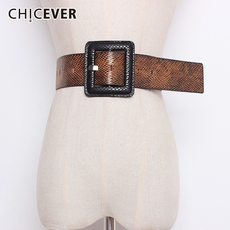 CHICEVER Autumn Winter Print Hit Colors Belts For Women High Waist Square Buckle Female Belt For Coat Accessories Fashion Tide