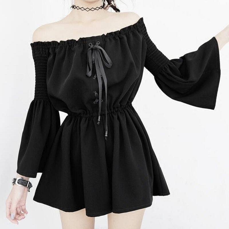 Summer Sexy Backless Off Shoulder Black Jumpsuit Women Elastic Waist Casual Loose Flare Sleeve Playsuits Gothic Fashion