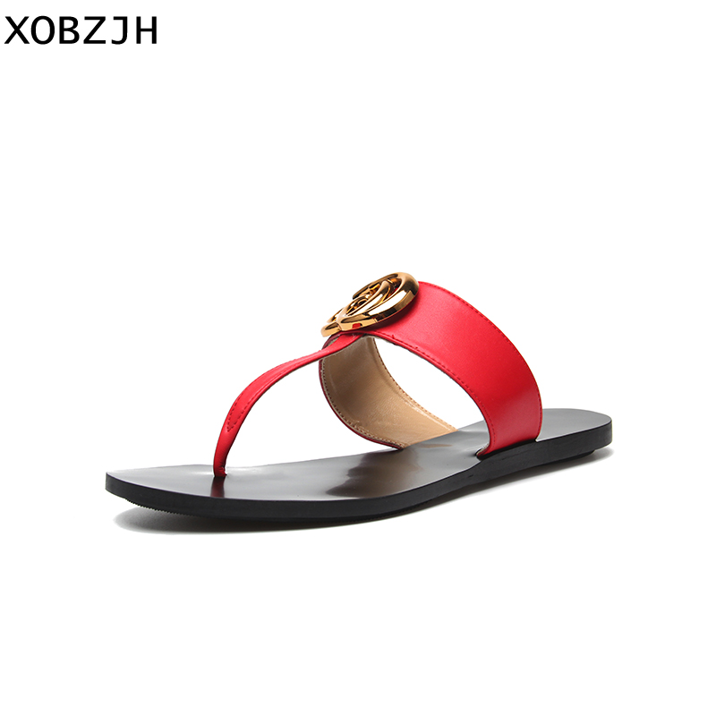 Summer Flat Sandals Women Shoes 2019 G Style Brand Slip On Luxury Sandals Mature Ladies black Red White Slippers Shoes woman