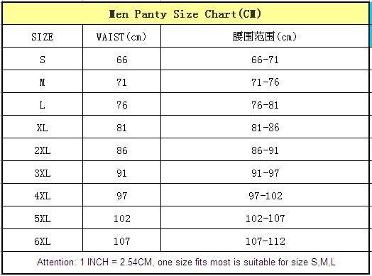 men panty size chart