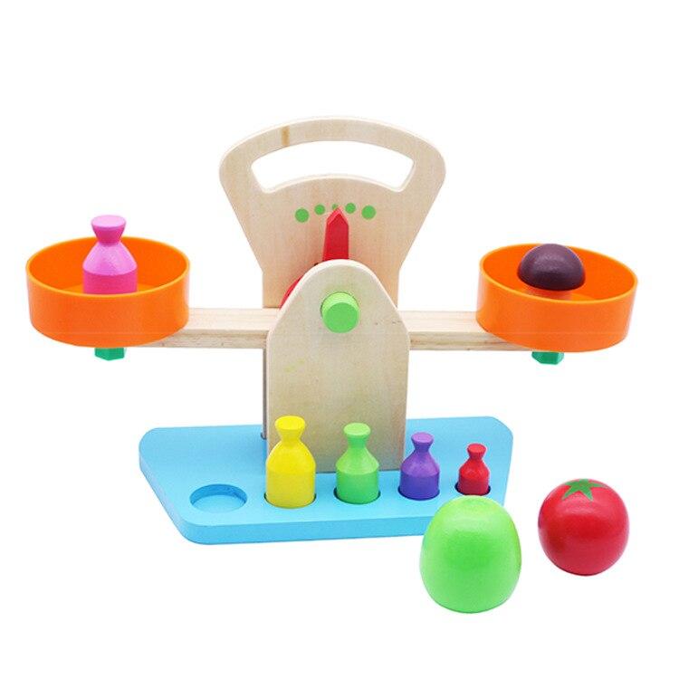 Nouveau bois jouet Balance balances légumes pesage jeu interactif apprentissage poids perception bricolage enfant en bas âge enfants jouet éducatif