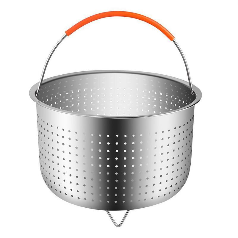 Kitchen Fruit Cleaning Strainer Basket Steam Baskets Stainless Steel Steam Pot Steam Rice Cooker Tools With Silicone Handle