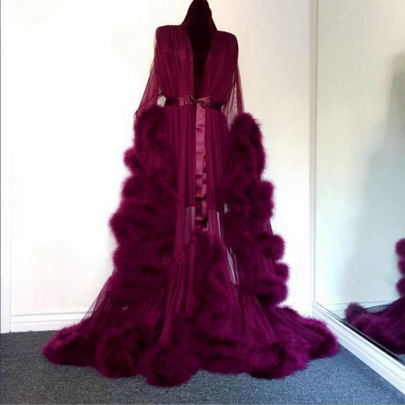 beebc0d917286 ... Women Sexy Longsleeve Fluffy Lingerie Sleepwear Robe Wedding Kimono Sleepwear  Robes for Ladies High Quality Nightgowns ...