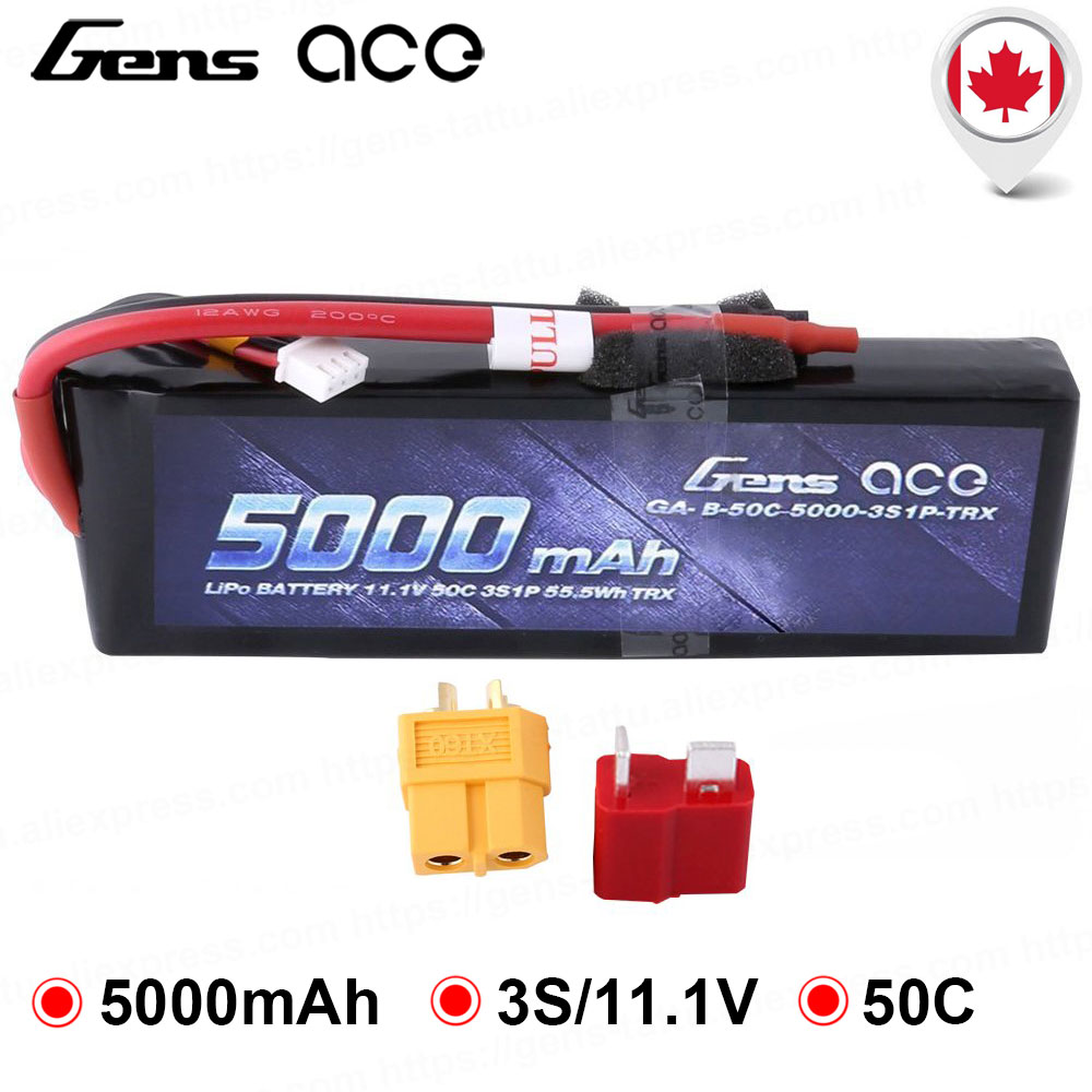 Gens ace <font><b>5000mAh</b></font> <font><b>11.1V</b></font> 3S 50C <font><b>LiPo</b></font> <font><b>Battery</b></font> Pack with Deans and XT60 Connector for Traxxas Models 1/10 1/8 RC Car image