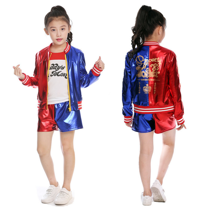 Girls Costume Harley Quinn Cosplay Uniform Suit Suicide Squad Jacket T-shirt Shorts Kids Halloween Costumes