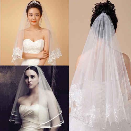חם חתונה צעיף לבן תחרה טול שנהב כלה שתי שכבות קודש הקודש מסרק תרנגולת מסיבת אופנה חדש