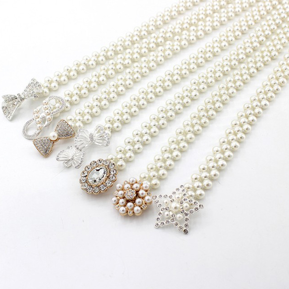 1PC Elegant Women Pearl Belt Waist Belt Elastic Buckle Pearl Chain Belt Female Girls Dress Crystal Strap