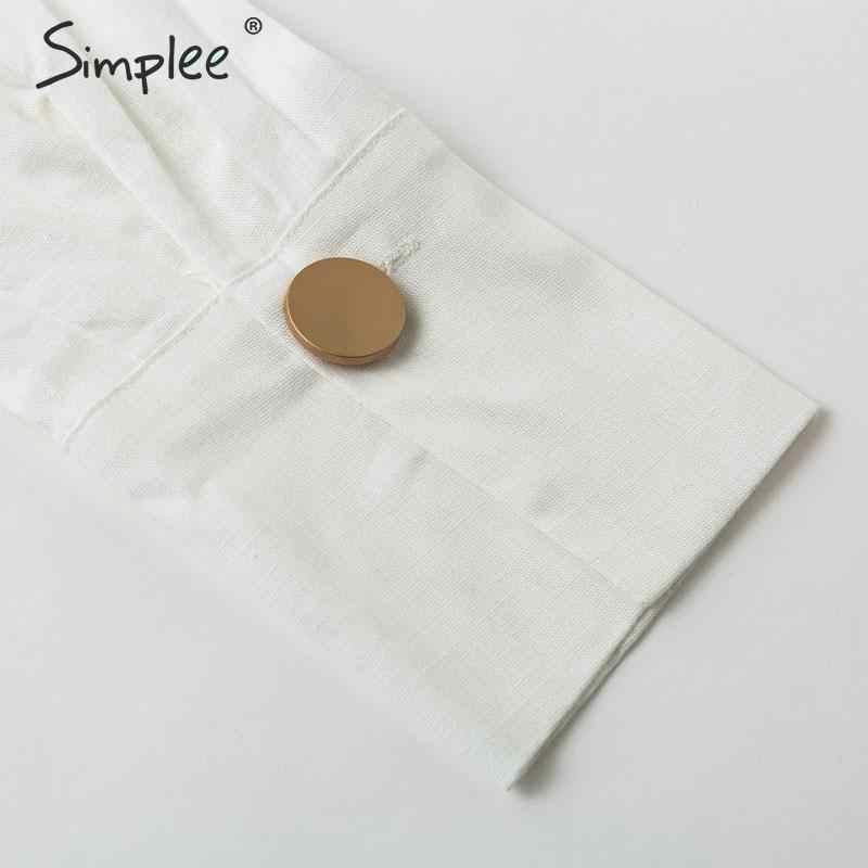 Simplee بلوزات بيضاء قصيرة بكتف واحد بنمط قميص صيفي ملابس علوية نسائية عصرية مثيرة بلوزات وبلوزات مثيرة