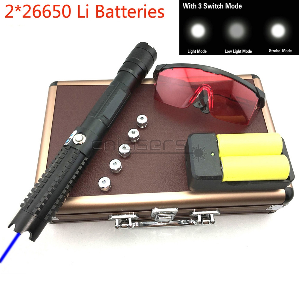 CNILasers BX8 Adjustable Focus 450nm Blue Laser Pointer BURNING Visible Laser Pen High Power Lazer Torch & 3 Switch Modes