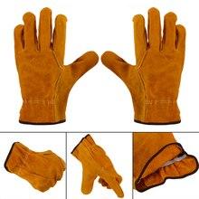 1 пара, для женщин и мужчин, сверхпрочные садовые перчатки, защита от шипов, Воловья кожа, безопасные рабочие перчатки для защиты рук