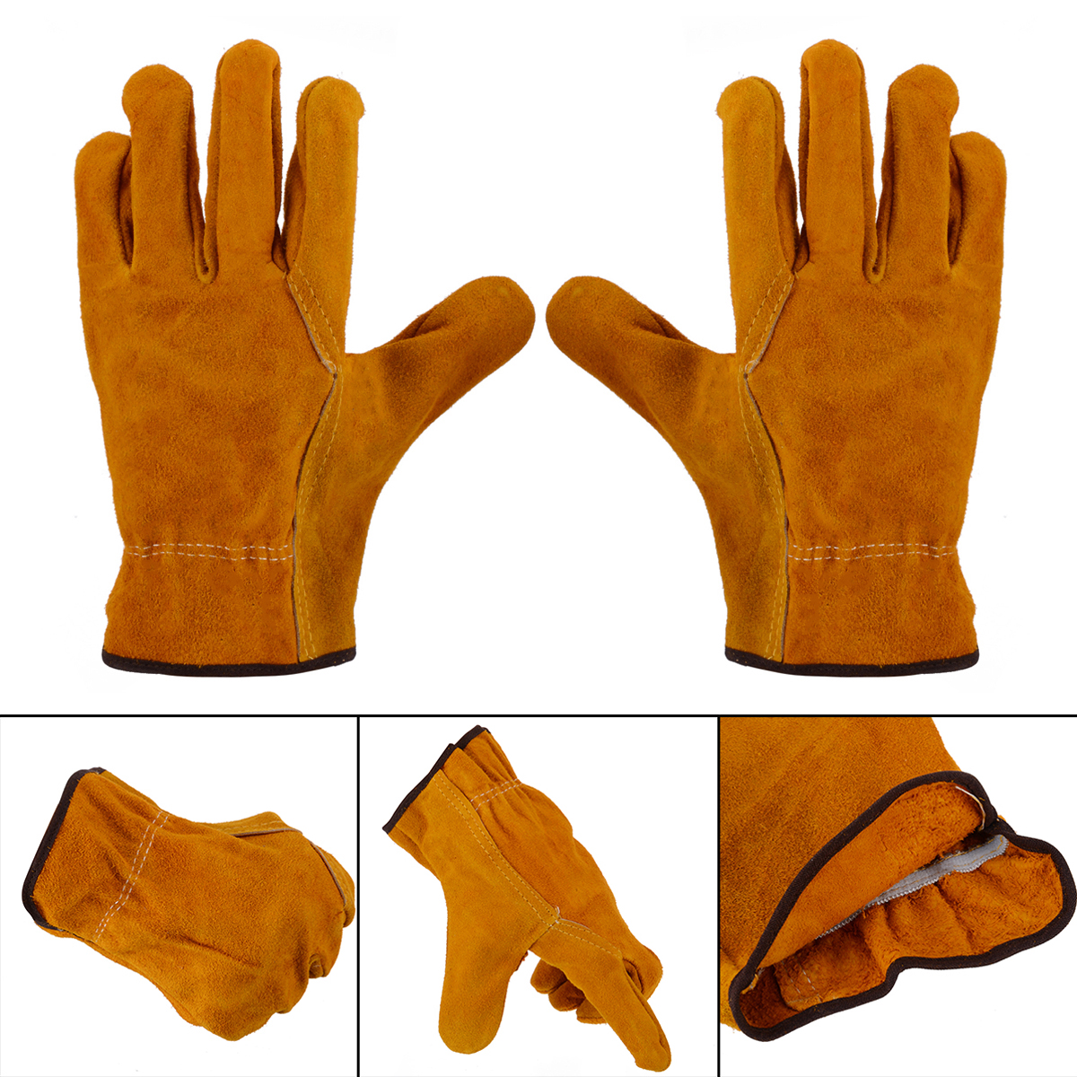 1 Pair Women Men Heavy Duty Gardening Gloves Thorn Proof Cowhide Leather Safety Working Gloves For Hand Protection
